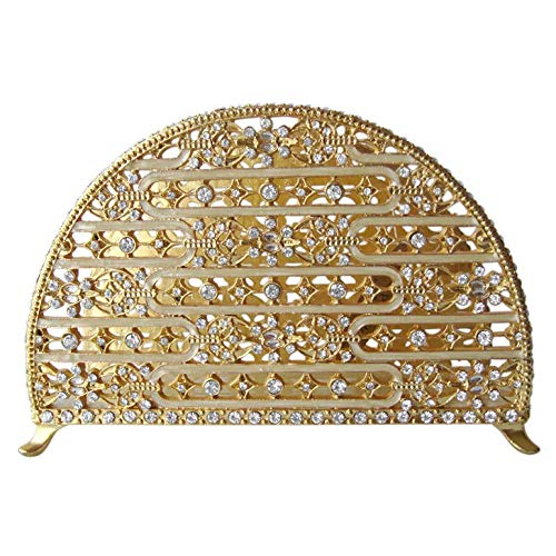 Napkin Holder Pewter/Gold with Stones