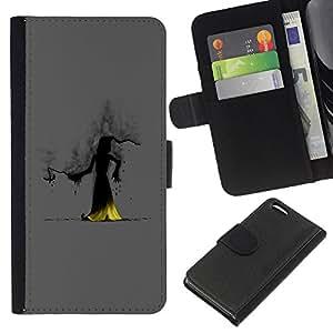 Apple iPhone 5C , la tarjeta de Crédito Slots PU Funda de cuero Monedero caso cubierta de piel ( Wizzard Witch Smoke Hood Fairytale Story Cartoon)