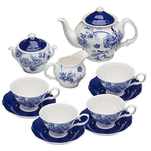 (Grace Teaware Bone China 11-Piece Tea Set (Bali Blue))