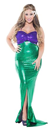 delicate illusions sexy adult ladies plus size mermaid halloween little skirt set for women 1x