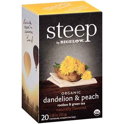 Steep by Bigelow Organic Dandelion and Peach with Rooibos and Green Tea 20 Count (Pack of 6)Caffeine-Free Individual Herbal Tisane Bags, for Hot Tea or Iced Tea, Plain or Sweetened with Honey or Sugar