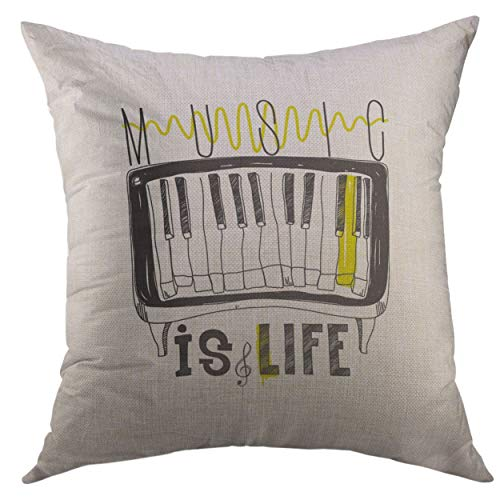 Mugod Decorative Throw Pillow Cover for Couch Sofa,Music is Life Simple Inspirational Motivational Quote Piano Hand Drawing Letters in Black White Home Decor Pillow Case 18x18 inch -