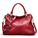 AINIMOER Womens Genuine Leather Vintage Tote Shoulder Bag Top-handle Crossbody Handbags Large Capacity Ladies' Purse (Wine)