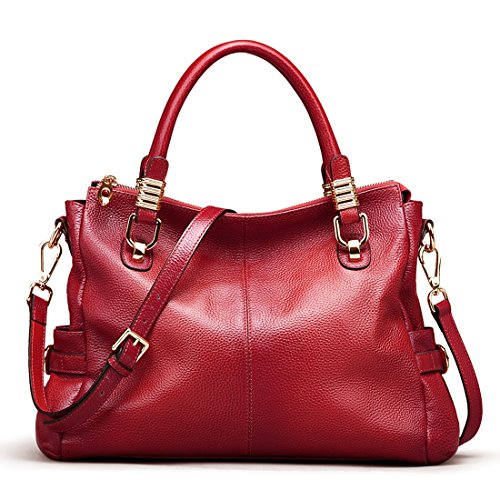 - AINIMOER Womens Genuine Leather Vintage Tote Shoulder Bag Top-handle Crossbody Handbags Large Capacity Ladies' Purse (Wine)