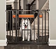 Carlson Home Design Extra Wide Walk Thru Pet Gate with Small Pet Door, Includes Décor Hardwood, 4-Inch Extensi