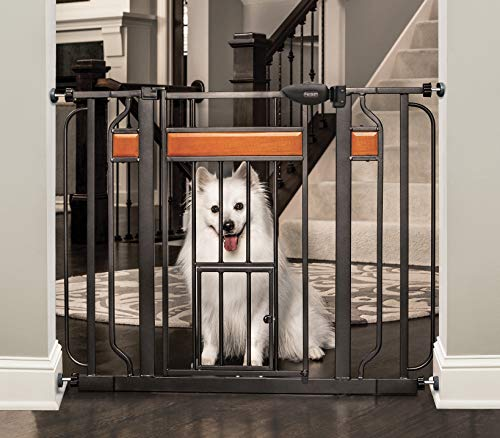 Carlson Home Design Extra Wide Walk Thru Pet Gate with Small Pet Door, Includes Décor Hardwood, 4-Inch Extension Kit…