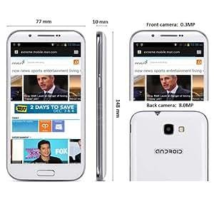 5,3 pulgadas phablet Feiteng GT- H7100 Android 4.1 3G del teléfono inteligente con pantalla QHD GPS Dual SIM de doble núcleo de 1 GHz cámara de 5MP (Blanco)