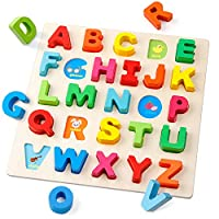 Coogam Wooden Alphabet Puzzle - Letters Peg Board Sorting ABC Blocks Matching Game Montessori Jigsaw Early Learning Educational Toy Gift for 1 2 3 Year Old Toddler Baby Kids