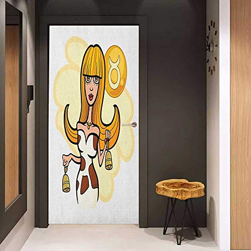 Toilet Door Sticker Zodiac Taurus Illustration of Woman Cartoon Character with Cow Bells and Horoscope Sign Glass Film for Home Office W23.6 x H78.7 Multicolor