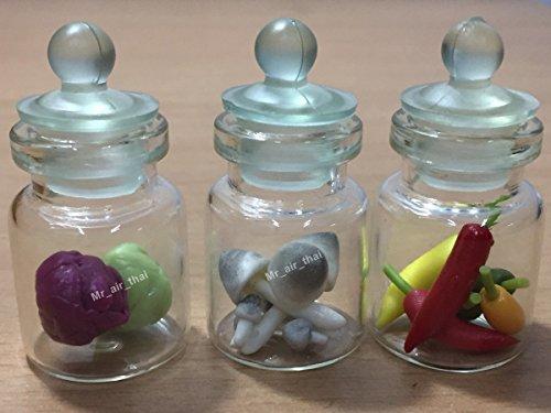 3pc Miniature Fruit Vegetable Food Mushroom Dollhouse Fruit in Clear Glass Mini Bottle fruit Food #MF032