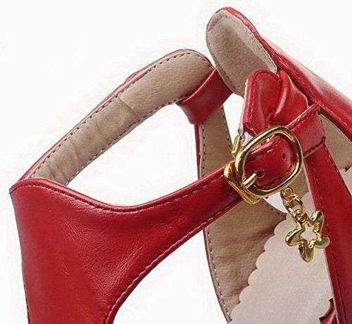 De Con Pu Sandalias Alto Hebilla Gmxlb009128 Vestir Tacón Sólido Mujeres Agoolar Rojo qHXw8gF4g