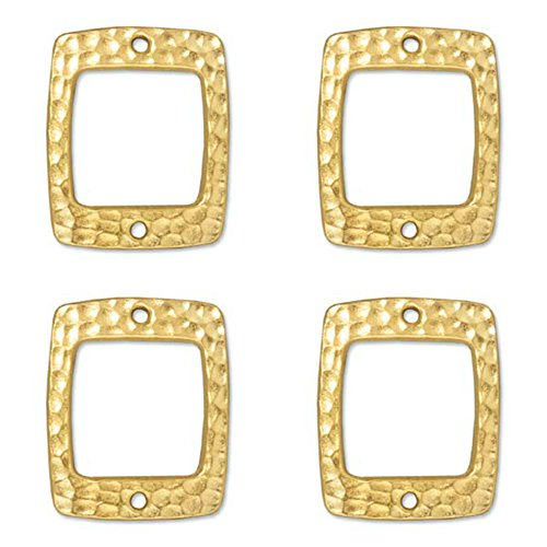 4 TierraCast Hammertone Rectangle Connectors. Gold Plate.17x21mm, 94-3102-25. Jewelry Making