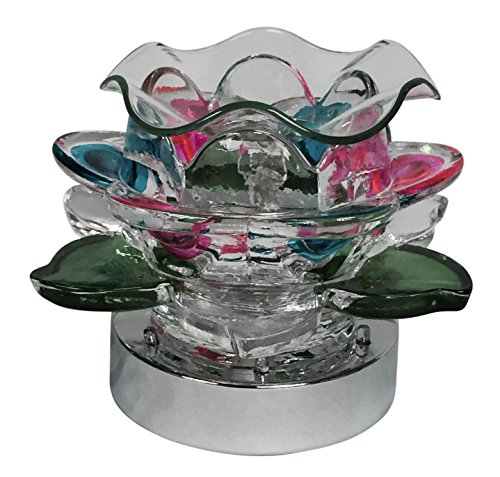 Lily Oil Lamp - Aurora Lily Pad Electric Glass Lamp Oil Warmer/Light with LED Light Flashing and Touch Power Adjuster