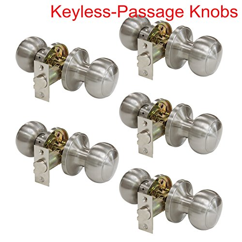 5 Pack Probrico Interior Passage Keyless Door Knobs Door Lock Handle Handleset Lockset Without Key Doorknobs Satin Nickel for Hall/Closet-Door Knob 609 ()