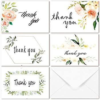 thank you cards for wedding bridal shower baby shower thank you notes card with envelopes and stickers 40 bulk pack greenery floral flower greeting cards