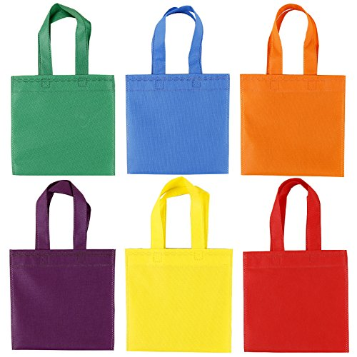Maosifang 24 Pieces Party Favor Bags Gift Bags Tote Bags Non-Woven Treat Bags with Handles,6 Colors,8 x 8 Inches
