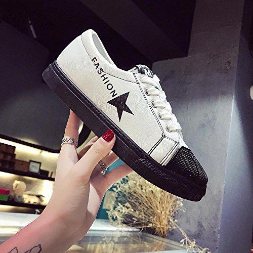 Deportivos Ocasionales Transpirables de Suela Mujeres Zapatos Blanda Deporte de de Blanco Cuero para Zapatillas 6qxSp0ww