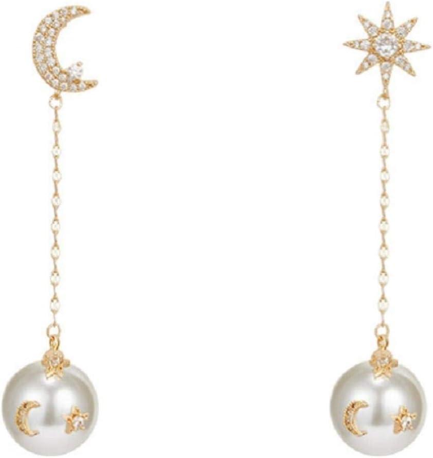 ZHUANQIAN Pendientes de Perlas de Mosaico de Asimetría, Pendientes de Diamantes de Imitación de Estrella y Luna de Temperamento, Regalos de Joyería para Mujeres y Niñas, 2 Pares