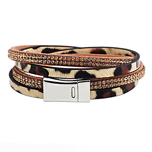 The November Nocturne Brown Leopard Leather Double Row Diamond Accented Stainless Steel Buckle Bracelet (Diamond Buckle Bangle)