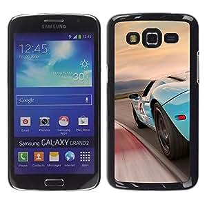 // PHONE CASE GIFT // Duro Estuche protector PC Cáscara Plástico Carcasa Funda Hard Protective Case for Samsung Galaxy Grand 2 / Azul Racing Car /