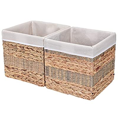 "StorageWorks Wicker Storage Baskets, 10.2""x10.2""x10.6"", 2-Pack - SPACE EFFICIENT: Collapsible design. STURDY: Hand woven over an iron frame. HOME DECOR: Versatile design fits well in your home. - living-room-decor, living-room, baskets-storage - 51gZyrs%2BJHL. SS400  -"
