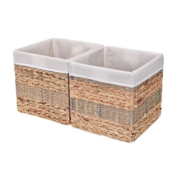 "StorageWorks Wicker Storage Baskets, 10.2""x10.2""x10.6"", 2-Pack - SPACE EFFICIENT: Collapsible design. STURDY: Hand woven over an iron frame. HOME DECOR: Versatile design fits well in your home. - living-room-decor, living-room, baskets-storage - 51gZyrs%2BJHL. SS570  -"