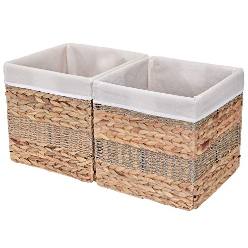- StorageWorks Rectangular Wicker Storage Baskets, Hyacinth and Seagrass Basket with Lining, Medium Baskets for Cube Storage, 10.2
