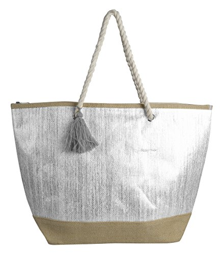 Peach Couture Gold Weave Large Travel Tote Hobo Handbags Shoulder Bags (White (Gold Silver Bag)