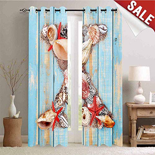 - Hengshu Waterproof Window Curtain Summertime Fun with Underwater Wildlife Elements Aged Blue Planks Decorative Curtains for Living Room W72 x L96 Inch Pale Blue Ivory Dark Coral