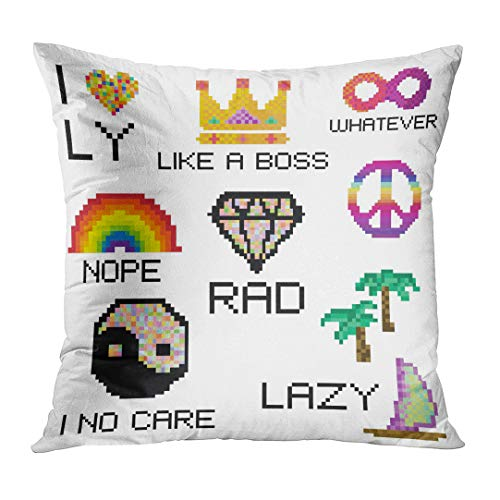LOULNN Throw Pillow Cover Modern Funny Stickers Messenger Social Media in Pixel and Different Slang Expressions Acronyms Decorative Pillow Case Home Decor Square 16x16 Inches Pillowcase