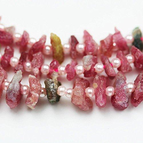 Raw Pink Tourmaline ,One Full strand Natural Nugget Shape Gemstone Beads, 10-12mm,16
