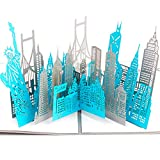 Paper Spiritz New York Silhouette Pop up Cards Birthday, 3D Anniversary for Husband Wife, Handmade Graduation Sympathy Blank Card, Laser Cut Thank You Gift Card with Envelopes all Occasions