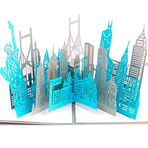 Paper Spiritz New York Silhouette Pop up Cards Birthday, 3D Anniversary for Husband Wife, Handmade Graduation Sympathy Blank Card, Laser Cut Thank You Gift Card with Envelopes all Occasions (Best Nyc Gift Cards)