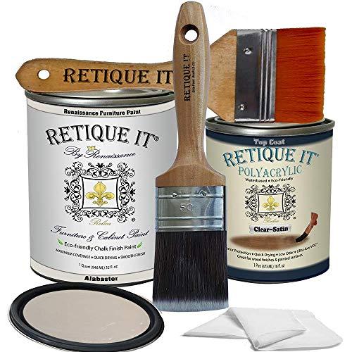 Retique It Chalk Furniture Paint by Renaissance DIY, Poly Kit, 11 Alabaster, 32 Ounces