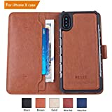 iPhone X Case, iPhone X Wallet Case, RESEE [Detachable 2 in 1 Cover] PU leather Magnetic Case Flip Cover With Card Holder RFID Blocking Shock Absorption For Apple iPhone X - Coffee