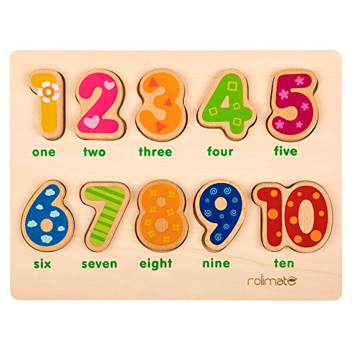 (rolimate Educational Wooden Shape Color Recognition Geometric Board Block Stack Sort Chunky Puzzle Toys, Birthday Gift Toy for Age 3 4 5 Years Old and Up Kid Children Baby Toddler Boy Girl (Numbers))