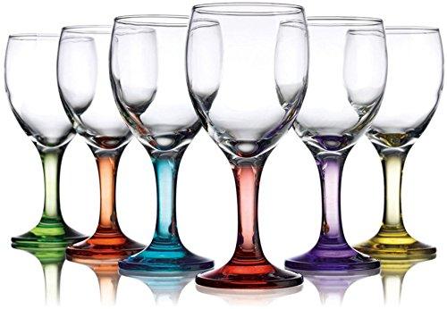 Klikel Set of 12 Carnival 10 Oz. Colored Party Wine Goblets Glasses Drinkware