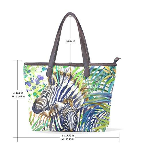 002 Elaborazione Mano Dell'unità Coosun 40x29x9 Cuoio M Multicolor Tote Zebra Di Bag Spalla Cm Maniglia Famiglia aqAxZ0