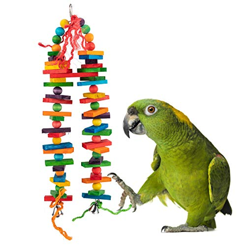(MEWTOGO Bird Parrot Chewing Sticks Toys- Fantastic Multicolored Natural Wooden Tower Blocks Suggested for Conures, Parakeets, Cockatiels, Lovebirds, African Grey and a Variety of Amazon Parrots )