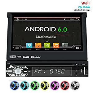 "EinCar Android 6.0 Car Stereo Head Unit with GPS Sat Nav + Online-Navigation-App + WiFI Mirrorlink + 7"" HD touch screen display 16:9 + USB SD + Audio / Video subwoofer,Rear Cam-in steering wheel"