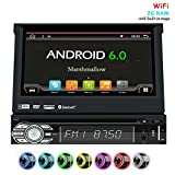 """EinCar Android 6.0 Car Stereo Head Unit with GPS Sat Nav + Online-Navigation-App + WiFI Mirrorlink + 7"""" HD touch screen display 16:9 + USB SD + Audio / Video subwoofer,Rear Cam-in steering wheel"""