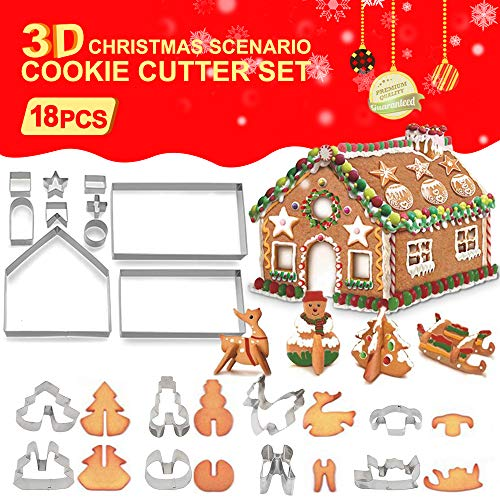 3D Christmas Cookie Cutters Set (18PCS), Gingerbread House Cookie Cutter Kit, Festive Xmas Stainless Steel Cookie Cutter Set, Including Christmas Tree, Snowman, Sled Shapes, Reindeer, Gift Box Package