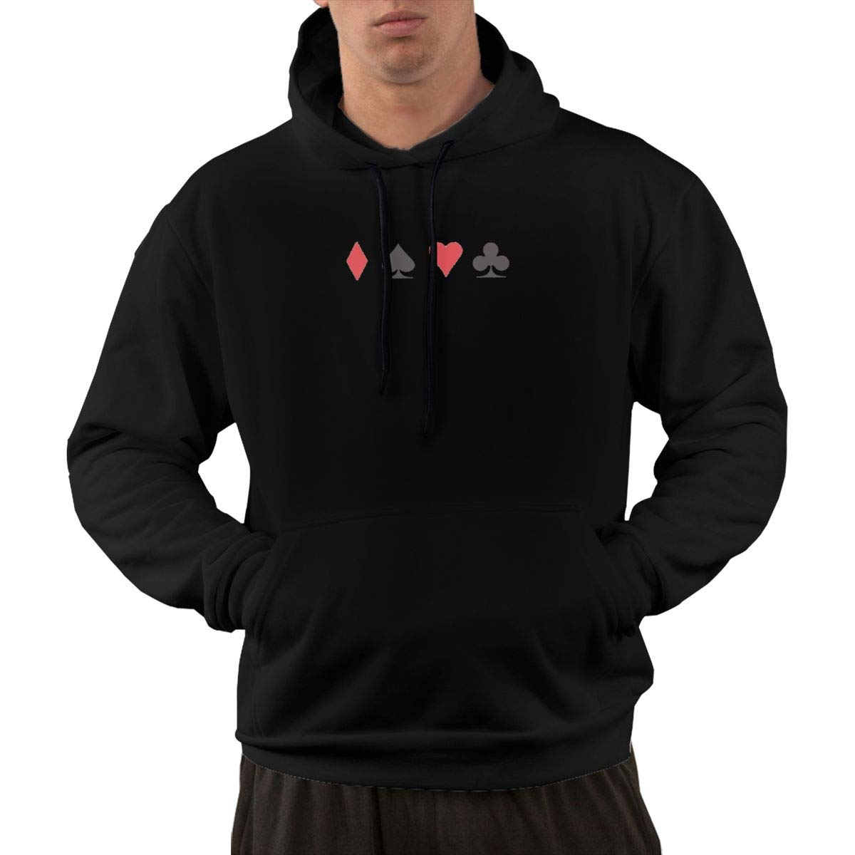 Poker Logo Hoodie Mens Fashion Casual Workout Sweatshirts Athletic Sweatshirt with Front Pocket