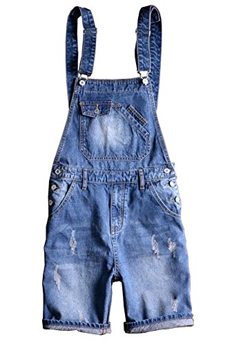 Sokotoo Men's Summer Blue Plus Size Denim Bib Overalls Shorts Size 31