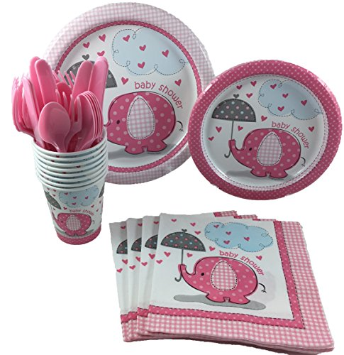 Unique Industries Pink Umbrellaphants Girl Baby Shower Party Supplies Pack Including Cake & Lunch Plates, Cutlery, Cups & Napkins for 8 -