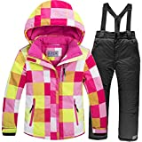 Baby Girls Boys Kids Winter Warm Outdoor Mountain Waterproof Windproof Snowboarding Skiing Jackets with Snow Ski Bib Pants US16