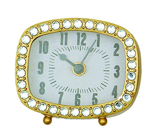 Creative Co-Op Rectangle Pewter Clock with Crystals and Gold Finish