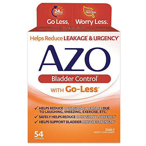 AZO Bladder Control® with Go-Less Daily Supplement | Helps Reduce Occasional Urgency* | Helps reduce occasional leakage due to laughing, sneezing and exercise††† | 54 Capsules