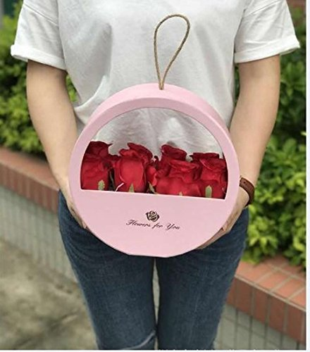 JDCMYK Portable Round Window soap Gift Flower Box Florist Packing Box Wedding Party Decoration Souvenirs (Pink)