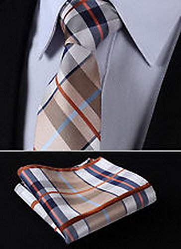 "Dan Smatree Brown Blue Stripe 3.4""Silk Woven Men Tie Necktie Handkerchief Set"